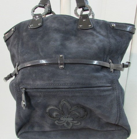 Gianni Bini Navy Blue Suede Shoulder Bag