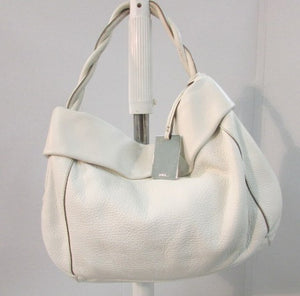 Furla Cream Pebble Leather Satchel Bag