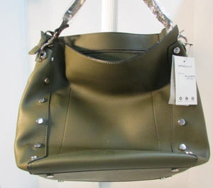 Meliebianco Olive Green Lux Leather Studded Tote.  Vegan Bag