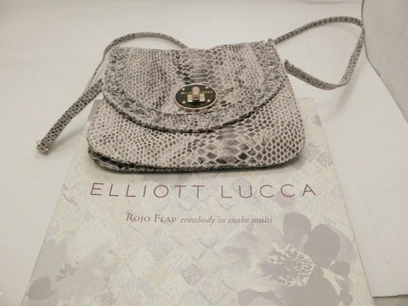 Elliott Lucca Rojo Flap Snakeskin Multi-color Leather Crossbody Purse in original box