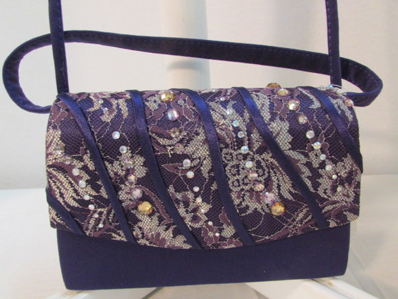 Milano Paris of New York Purple Lace with Rhinestone Evening Bag