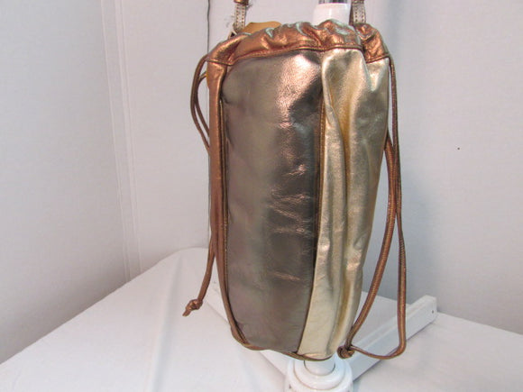 Dame by David Mehler Metallic Gold/Copper/Silver Drawstring Shoulder Bag