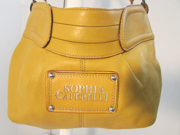 Sophia Caperelli Leather Mustard Color Hobo Bag