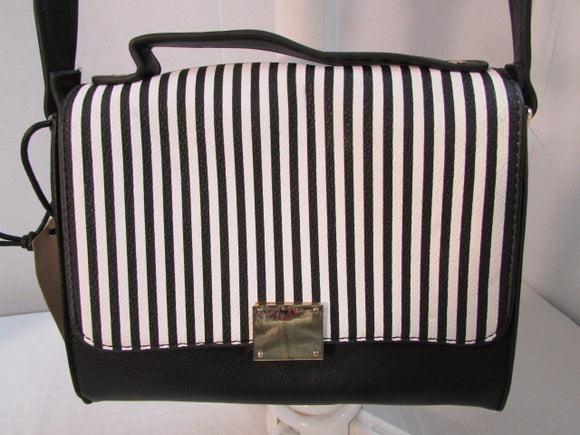 Like Dreams Black and White Striped Satchel Purse