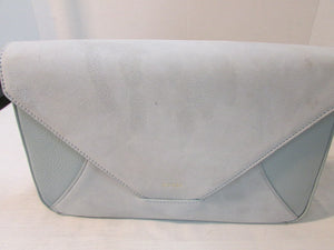 Mezzi Baby Blue Suede and Pebble Leather Carezza Envelope Clutch