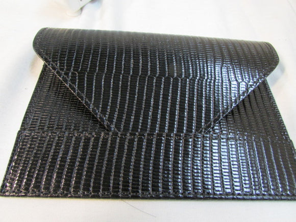 Raika Black Leather Envelope Wallet Clutch