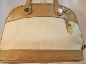 Marlo Beige Canvas with Tan Leather Shoulder Bag