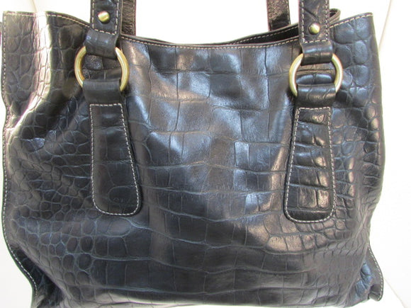 Donald J. Pliner Large Black Crocodile Embossed Leather Purse