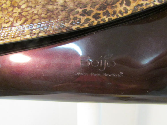Beijo Patent Leather Leopard and Egg Plant Clutch with Matching Coin Purse - NWT