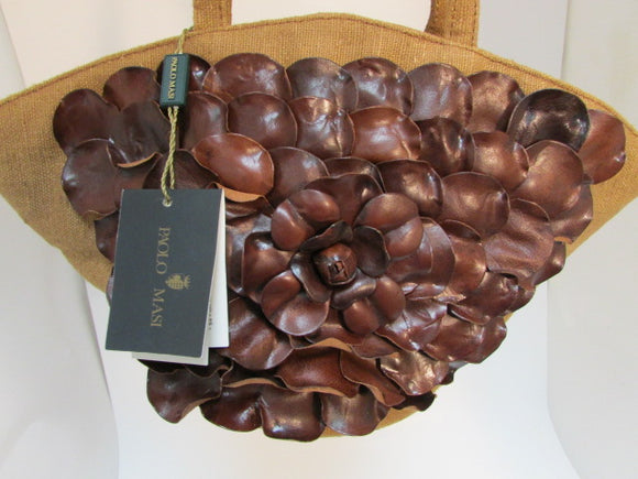 Paolo Masi Brown Leather and Linen Shoulder Bag - NWT