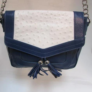 Audrey Brooke Navy Blue Leather with White Ostrich Flap Crossbody Purse