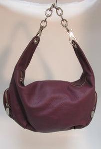 Prune Dark Burgundy Pebble Leather Shoulder Bag