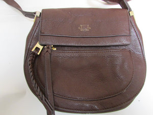 Vince Camuto Black Cherry Pebble Leather Crossbody