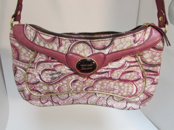 Roberto Cavalli Red Heart Canvas Shoulder Purse