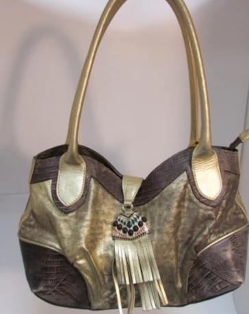 Braccialini Metallic Gold & Brown Leather Satchel