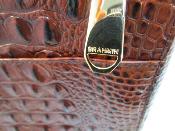 Brahmin Melbourne Manhattan Pecan Croc Embossed Leather Crossbody Bag