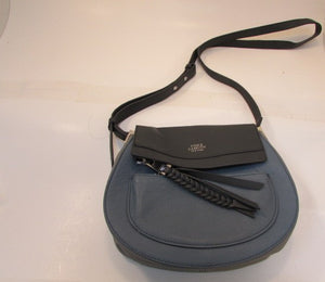 Vince Camuto Pebble Leather Two Blue Tones with Gray Crossbody Purse
