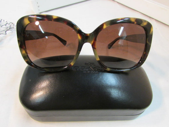 Coach Dark Vintage Tortise Polarized Black Sunglasses