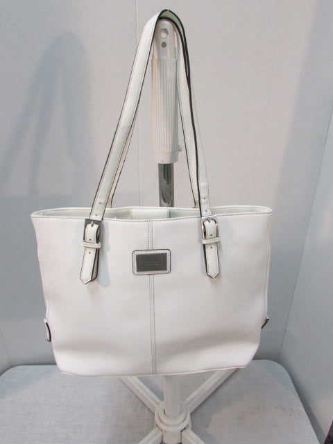 Tignanello White Piega Leather Tote