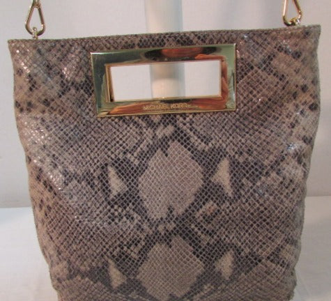 Michael Kors Brown Snakeskin Larger Clutch/Crossbody Bag