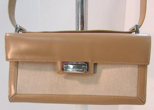 Antonio Melani Beige Canvas and Leather Small Shoulder Bag
