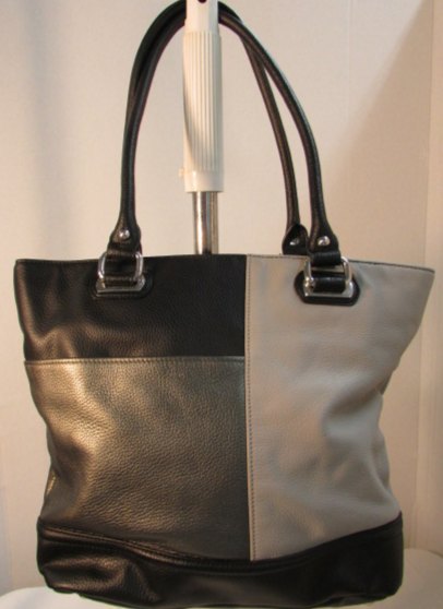 Tignanello Patchwork Black, Gray, Silver Leather Tote