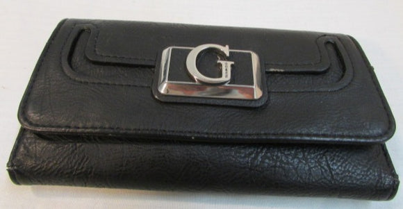 Guess Black Leather Tri-Fold Wallet