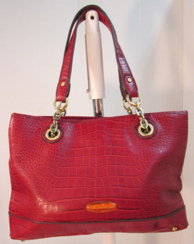 Liz Claiborne Red Croc Faux Leather Shoulder Bag