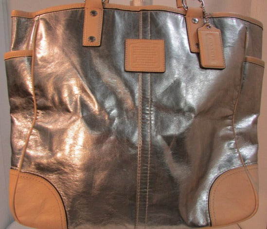 Coach Silver and Tan Leather Tote with Silver Hardware