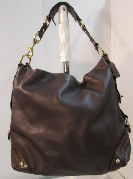 Coach Carly Chocolate/Dark Brown Leather Hobo