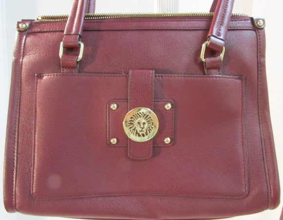Ann Klein Burgundy Pebble Leather Shoulder Bag