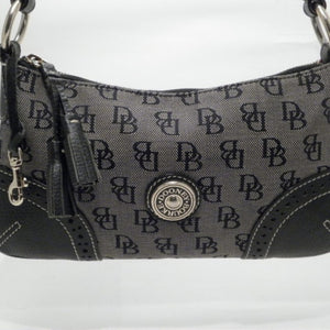 Dooney & Bourke Black/Grey Signature Canvas Hobo