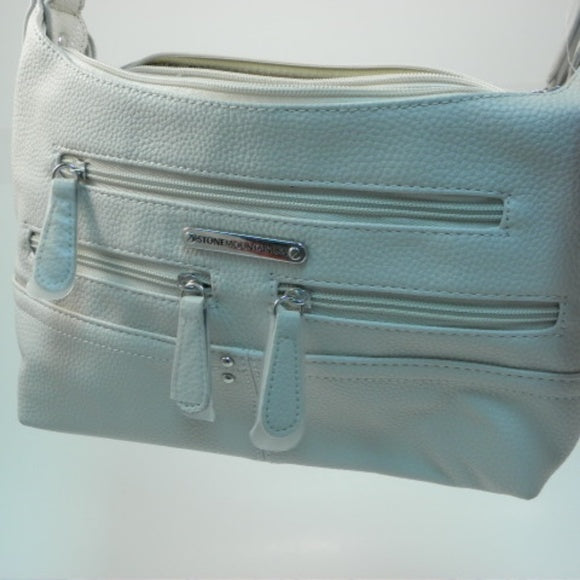 Stone Mountain Off White Pebble Leather Satchel - NWT
