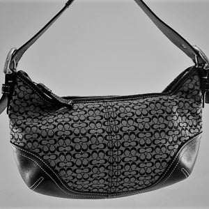 Coach Black/Grey Jacquard and Leather Hobo Bag
