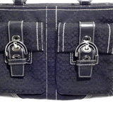 Coach Signature Black Shoulder Bag w/Front Pockets
