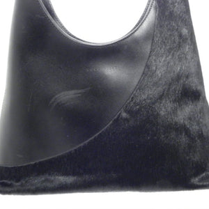 Coccinelle Black Leather/Fur Shoulder Bag