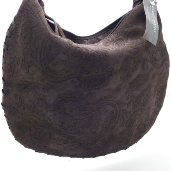 Bisou Bisou Brown Suede Leather trim Hobo - NWT