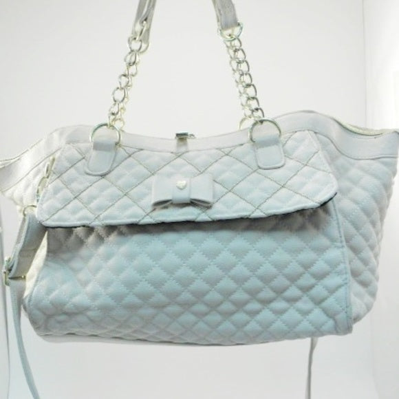 Betsey Johnson Diamond Quilted Large Cream Satchel
