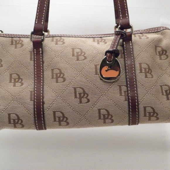 Dooney & Bourke Tan/Brown Signature Barrel Bag