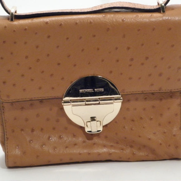 Michael Kors Ostrich Carmel Leather Crossbody Bag