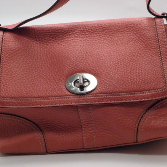 Coach Coral Red Pebble Leather Crossbody Handbag