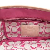 Coach Pink Nylon Mini Hand Bag with Leather Trim