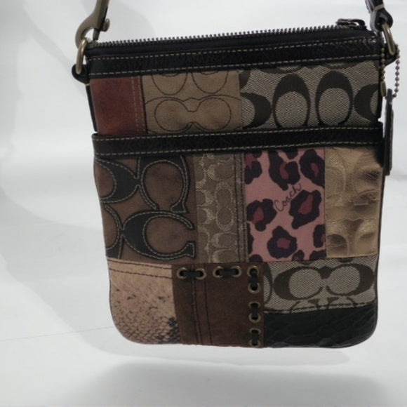 Coach Brown Multi-color Patchwork Crossbody Bag