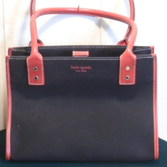 Kate Spade Black Red Canvas Shoulder Bag