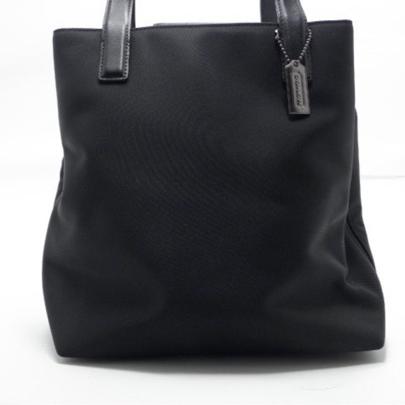 Coach Black Twill Fabric and Leather Trim Shoulder