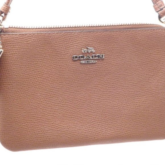 Coach Khaki/Brown Saddle Leather Wristlet