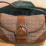 Coach Soho Signature Brown Leather Khaki Satchel