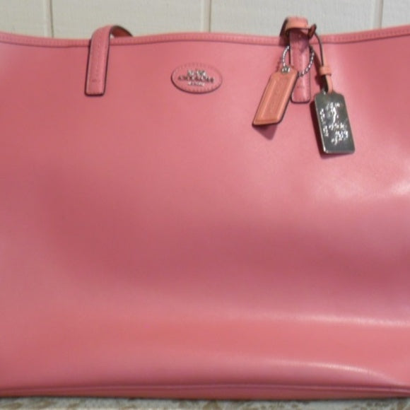 Coach Loganberry/Coral Leather Tote