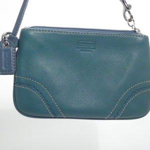 Coach Teal Leather Wristlet