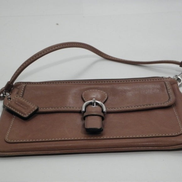 Coach Wristlet Brown Leather with Buckle Clasp
